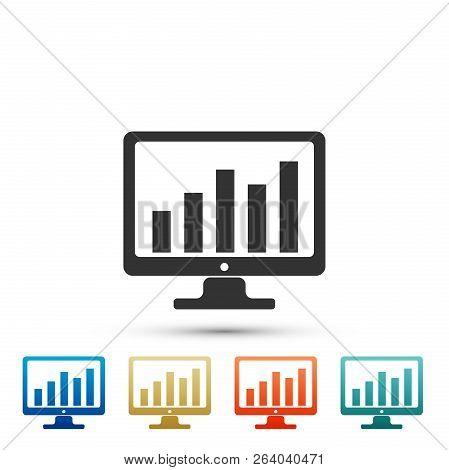 Computer Screen With Financial Charts And Graphs Icon Isolated On White Background. Chart Bars And F