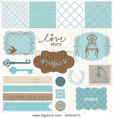 Scrapbook design elements - Vintage Love Set