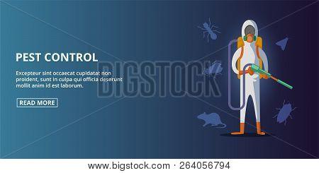 Pest Control Exterminator Banner Horizaontal Concept. Cartoon Illustration Of Pest Control Extermina