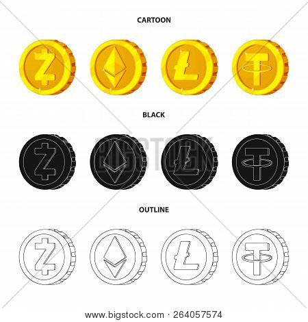 Vector Design Of Cryptocurrency And Coin Logo. Set Of Cryptocurrency And Crypto Stock Vector Illustr