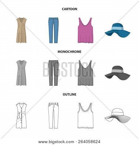 Vector Illustration Of Woman And Clothing Sign. Set Of Woman And Wear Stock Vector Illustration.