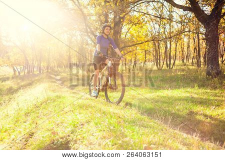 Biking In The Forest. Girl Rides A Bike On A Forest Trail. Woman Riding Her Bike In The Park. Bicycl