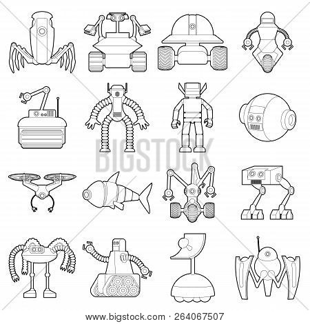 Robot Forms Icons Set. Outline Illustration Of 16 Robot Forms Icons For Web