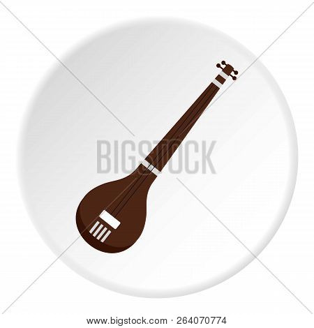 Traditional Indian Sarod Icon In Flat Circle Isolated On White Illustration For Web