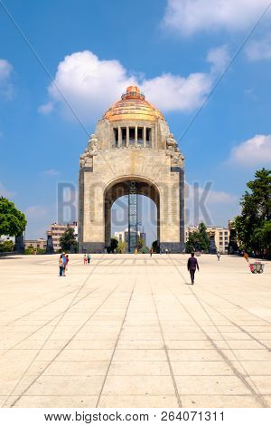 MEXICO CITY,MEXICO - JULY 12,2018 : The Monument to the Revolution in Mexico City