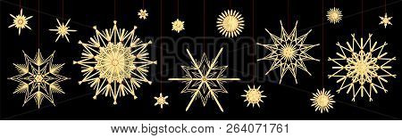 Straw Stars. Different Old Fashioned Vintage Christmas Tree Deco. Vector Illustration On Black Backg