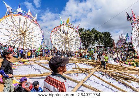 Santiago Sacatepequez, Guatemala - November 1, 2017: Spectators Watch Team Prepare To Raise Giant Ki