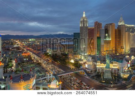 Las Vegas - Dec 27, 2015: New York-new York Hotel And Casino On Las Vegas Strip At Night In Las Vega
