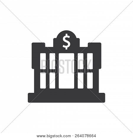 Dollar Central Bank Vector Icon On White Background. Dollar Central Bank Icon In Modern Design Style