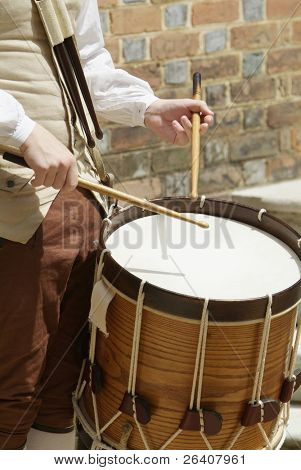 Authentic drummer boy playing