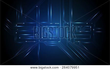 Circuit Board 2019, Technology Cpu, Microprocessor Interface. Futuristic Vector Background. Circuit