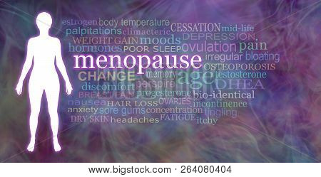 Words associated with the Menopause  -  white female silhouette beside a Menopause word cloud on a multicoloured wispy  background poster