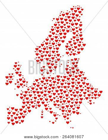 Mosaic Map Of Euro Union Designed With Red Love Hearts. Vector Lovely Geographic Abstraction Of Map