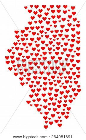 Mosaic Map Of Illinois State Created With Red Love Hearts. Vector Lovely Geographic Abstraction Of M