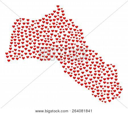 Collage Map Of Kurdistan Designed With Red Love Hearts. Vector Lovely Geographic Abstraction Of Map