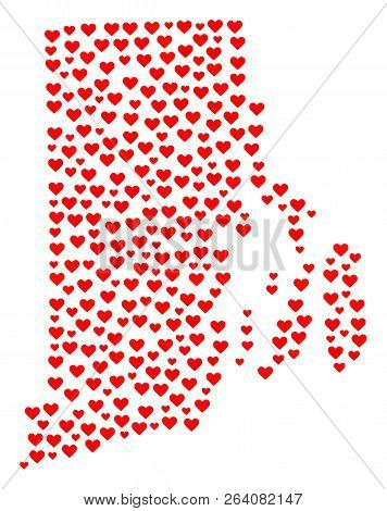 Collage Map Of Rhode Island State Formed With Red Love Hearts. Vector Lovely Geographic Abstraction