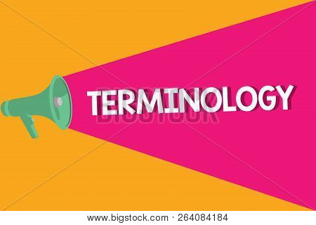 Text sign showing Terminology. Conceptual photo Terms used with particular technical application in studies poster