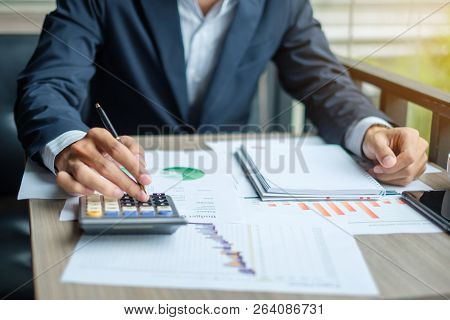 Businessman Analysis Maketing Plan, Accountant Calculate Financial Report, Smart Phone With Graph Ch