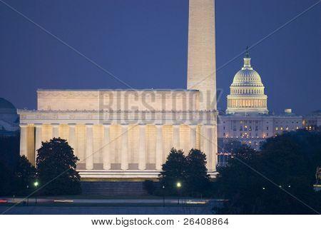 Washington monumento centro comercial Lincoln Capitol noche DC viajes serie 33
