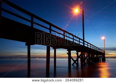 Crescent Beach Pier Dusk. A Beautiful Evening By The Pier In Crescent Beach, Surrey, Bc.