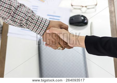 Business Man Handshaking Business Women, About With Working, Happy With Success Agreed To Work, Hand