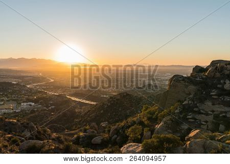 Dawn view of the San Fernando Valley in Los Angeles California.  Shot from Rocky Peak Mountain Park near Simi Valley.