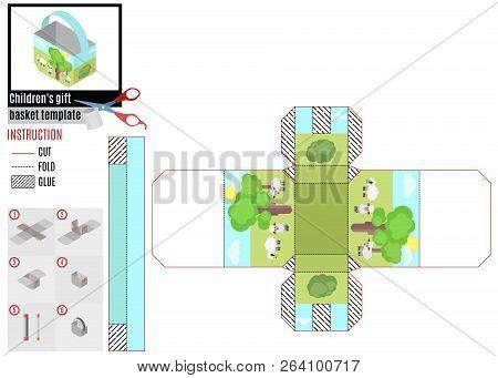 Children's Basket For Children. Constructor Of Glue Itself