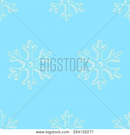 Vector Seamless Pattern Background With White Sketch Snowflakes