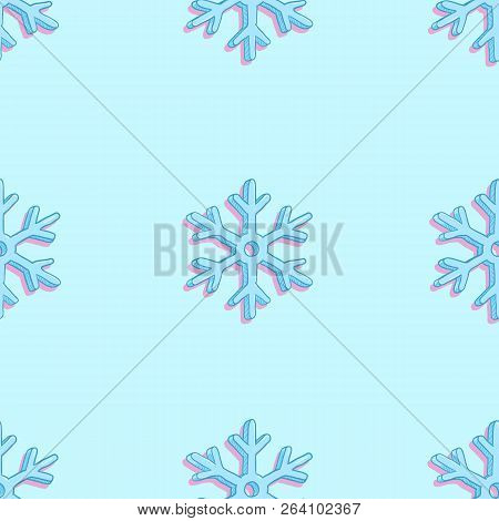 Vector Seamless Pattern Background With Cartoon Blue Snowflakes