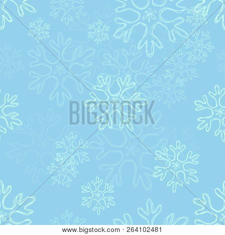 Vector Seamless Pattern Background With Doodle Snowflakes