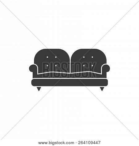 Two Place Couch Vector Icon On White Background. Two Place Couch Icon In Modern Design Style. Two Pl