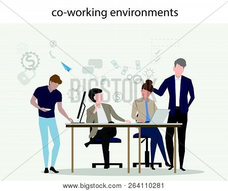 Co Working Environments Office Center People Talking And Working Business How To Make Money With Inv