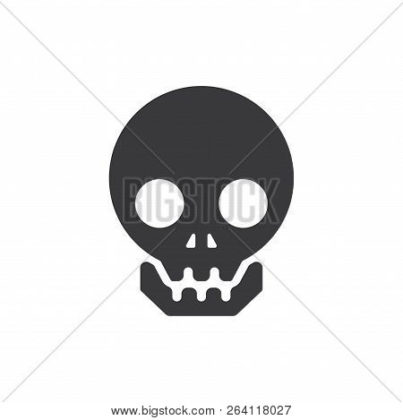 Human Skull Vector Icon On White Background. Human Skull Icon In Modern Design Style. Human Skull Ve