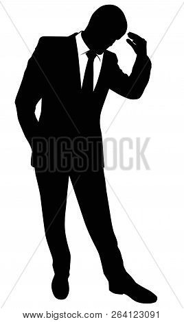 Silhouette Of A Business Man In A Suit Standing - Vector