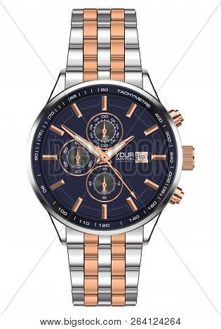 Realistic Watch Clock Chronograph Stainless Steel Copper Blue Face For Men On White Background Vecto