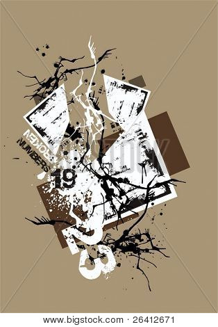 flayer background,vector grunge elements explozion,broken numbers eroded paper,abstract collage change color and size as you wish