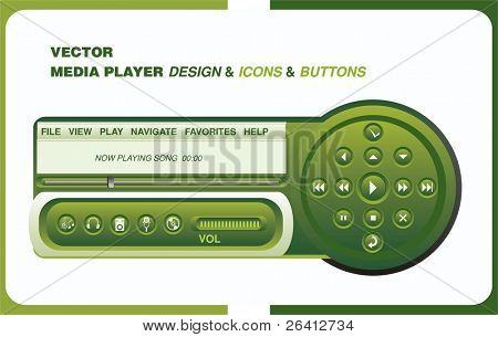 functional media player design with menu, buttons and icons ,vector illustration change color and size as you wish
