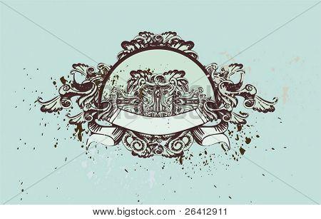decorative vintage medallion with floral & grunge elements,vector illustration