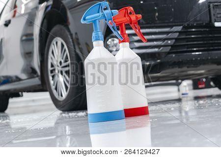 Cars In A Carwash. Car Wash With Foam In Car Wash Station. Carwash. Washing Machine At The Station.