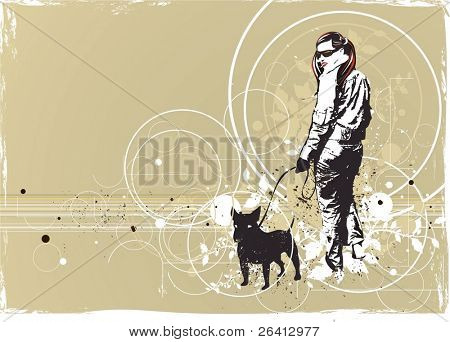 walking girl with her dog,abstract grunge & floral background