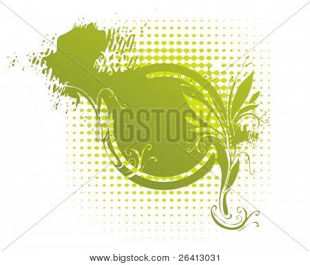 eroded floral medallion on retro halftone background