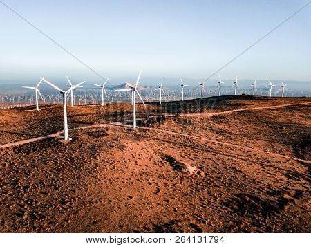 Wind Turbine Farm From Aerial View. Sustainable Development, Environment Friendly Of Wind Turbine By