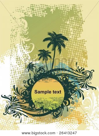 floral  medalion on eroded grunge frame,palm trees,vector illustration