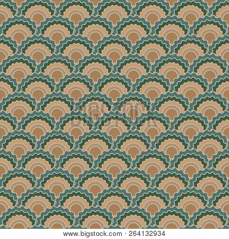 Fantasy Snake Skin Scales Squama Background, Vector Seamless Fabric Pattern, Tiled Textile Print. Tr
