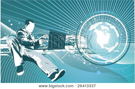 IT technology concept  man with laptop & earth globe,futuristic background,vector illustration