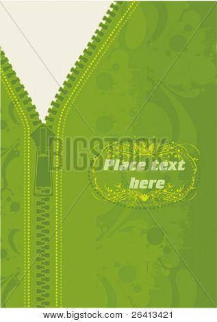 green vector jacket with zipPER ,grunge texture
