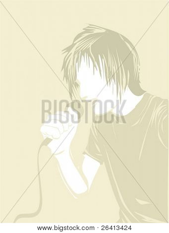 man singing at the microphone,vector illustration
