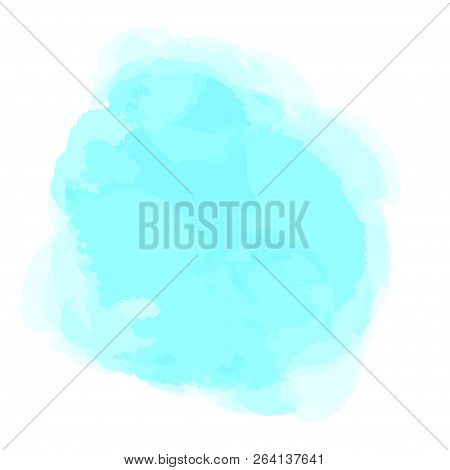 Hand Drawn Watercolor Spot On Isolated White. Colored Aquarelle Blotch. Watercolour Splotch. Paint A