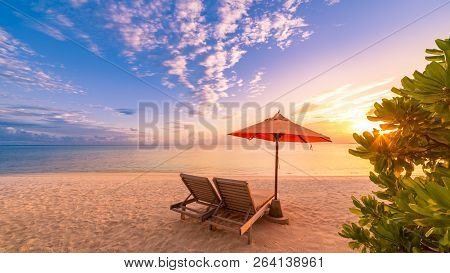 Perfect Tranquil Beach Scene, Sunset And Rays, White Sand And Blue Endless Sea As Tropical Landscape