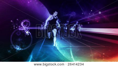 track runners illustration on digital background